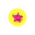 Pendente Acrílico Fluor Medalha Sobreposta - Estrela [Amarelo e Fuchsia] - (25mm)