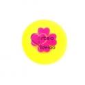 Pendente Acrílico Fluor Medalha Sobreposta - Trevo [Amarelo e Fuchsia] - (25mm)