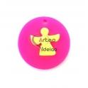 Pendente Acrílico Fluor Medalha Sobreposta - Anjinho [Fuchsia e Amarelo] - (25mm)