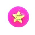 Pendente Acrílico Fluor Medalha Sobreposta - Estrela [Fuchsia e Amarelo] - (25mm)