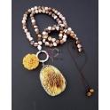 Colar Pedra Coral Cogumelo - Amarelo Torrado