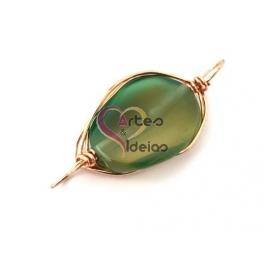 Conta Pedra Semi-Preciosa com Aluminio Dourado - Verde (45x22mm)