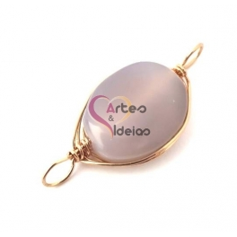 Conta Pedra Semi-Preciosa com Aluminio Dourado - Cinza (45x22mm)