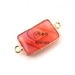 Conta Pedra Semi-Preciosa Rectangular com Dourado - Rosa Morango (30x15mm)