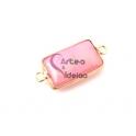 Conta Pedra Semi-Preciosa Rectangular com Dourado - Rosa Claro (30x15mm)