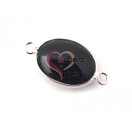 Conta Pedra Semi-Preciosa com Prateado - Preto (25x15mm)