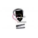 Porta-Chaves Aço Inox com Fita Preta (70x20mm) [Personalizavel]