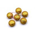Conta Zamak Mate Arredondado Flor (12mm) - Dourada
