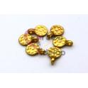 Pendente Zamak Mate Mini Medalha Redonda Martelada (10mm) - Dourado