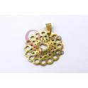 Pendente Aço Inox Flor Coração - Dourado (30mm)