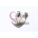 Pendente Aço Inox Coração com Chave Te Amo - Prateado (20mm)