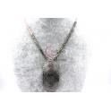 Colar Fingerprint com Contas Ovais Rosa e Hematites Prateadas