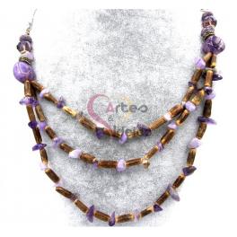 Colar Pedras e Cristais - Castanho Mesclado e Violeta