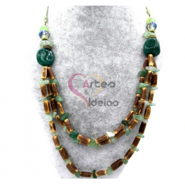 Colar Pedras e Cristais - Castanho Mesclado e Verde