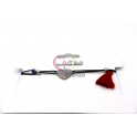 Pulseira Aço Inox Ajustável Fio Algodão [Coração] Pompom Vermelho - Prateado