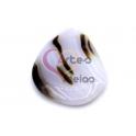 Pendente Pedra Semi-Oval Tons Creme e Castanho Listados (60x40mm)