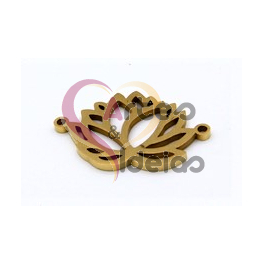 Conector Aço Inox Flor de Lotus - Dourado (20x18mm)