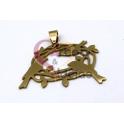 Pendente Aço Inox Ninho de Passaros - Dourado (30x40mm)