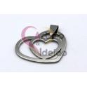 Pendente Aço Inox Aro Coração dentro Aro Coração - Prateado (25x30mm)
