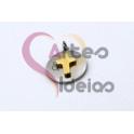 Pendente Aço Inox Medalhinha Cruz Sobreposta - Prateado e Dourado (12mm)