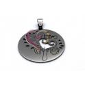 Pendente Aço Inox Medalha Planta Coração - Prateado (35mm)
