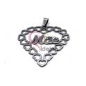 Pendente Aço Inox Coração de Corações Mãe - Prateado (45mm)