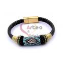 Pulseira em Pele Cinza Snake Ornamentos F005 - Dourada