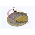 Pendente Aço Inox Medalha Redonda Multi-Corações - Dourado (30mm)