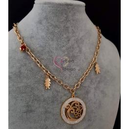Colar Aço Inox Meninos e Medlhão Floral - Dourado