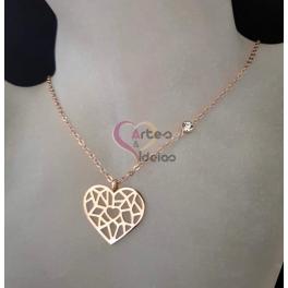 Fio Aço Inox Colecção Origami [Coração] - Dourado Rosa