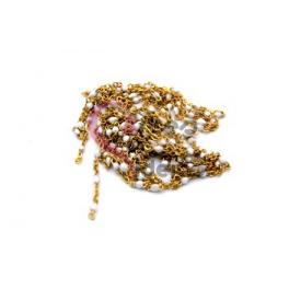 Corrente Dourada Missanga Japonesa Branca [99cm]