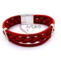 Pulseira Cortiça Tranças [26745] - Vermelho