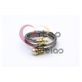 Anel Aço Inox Ajustavel - Prateado Dourado e Perola
