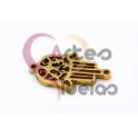 Conector Aço Inox Mão Hamsá - Dourado (18x12mm)
