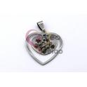 Pendente Aço Inox Aro Coração Amo-te Muito Mãe - Prateado (25x28mm)