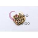 Pendente Latão Coração com brilhantes - Dourado (17x15mm)
