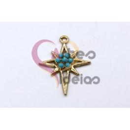 Pendente Latão Estrela Blue Pearl Collection - Dourado (25x23mm)