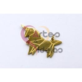 Pendente Aço Inox Unicornio Origami - Dourado (17x30mm)