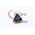 Pendente Pedra Semi-Preciosa Mini Triangulo Lapis Lazuli - Dourado (13x13mm)