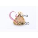 Pendente Pedra Semi-Preciosa Mini Triangulo Quartzo Rosa Translucido - Dourado (13x13mm)
