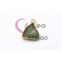 Pendente Pedra Semi-Preciosa Mini Triangulo Amazonite - Dourado (13x13mm)