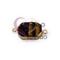 Pendente Pedra Semi-Preciosa Rectangular Olho de Tigre - Dourado (14x19mm)