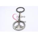 Porta-Chaves em Aço Inox Simbolo da Paz - Prateado (35mm)