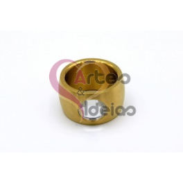 Anel Aço Inox One Cristal - Dourado