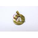 Pendente Aço Inox Medalha Redonda Letra A - Dourado (25mm)