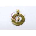 Pendente Aço Inox Medalha Redonda Letra D - Dourado (25mm)