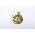 Pendente Aço Inox Medalha Redonda Letra G - Dourado (25mm)