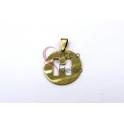 Pendente Aço Inox Medalha Redonda Letra H - Dourado (25mm)