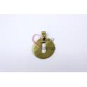 Pendente Aço Inox Medalha Redonda Letra I - Dourado (25mm)