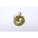 Pendente Aço Inox Medalha Redonda Letra J - Dourado (25mm)